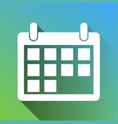 Calendar sign white icon with gray vector