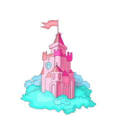 Cartoon medieval fun pink castle with flag and vector