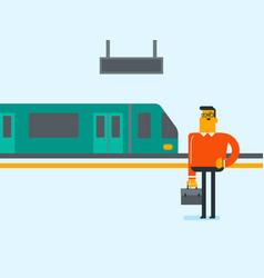 caucasian man walking on railway station platform vector image