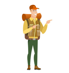 Caucasian traveler pointing to the side vector
