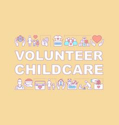 childcare volunteering word concepts banner vector image