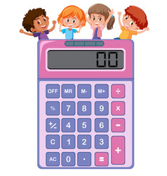 Children on the calculator vector
