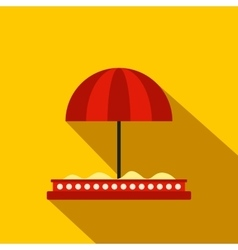 Children sandbox with red umbrella flat icon vector