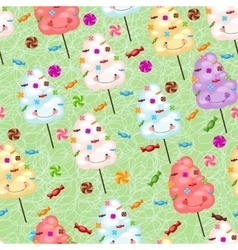 Childrens seamless pattern from cotton candy vector image
