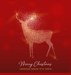 christmas gold glitter texture reindeer card vector image