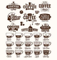 Coffee label logo and menu vector