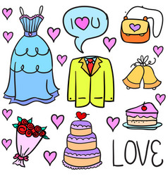 Collection of wedding element colorful doodles vector
