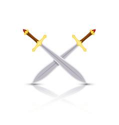 Color image swords two crossed swords vector