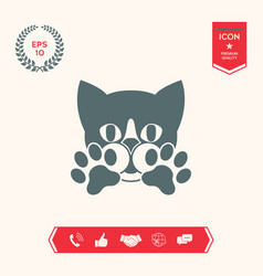 Cute cat paws - logo symbol protect sign vector