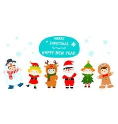 cute kids wearing christmas costumes cartoon vector image