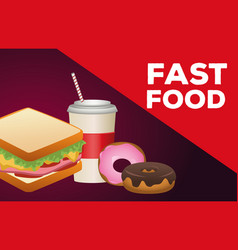 Delicious sandwich with soda and donuts fast food vector