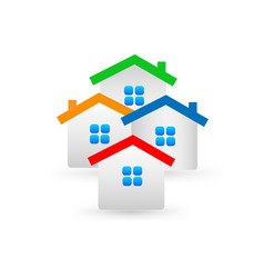 different colorful houses in the neighborhood icon vector image