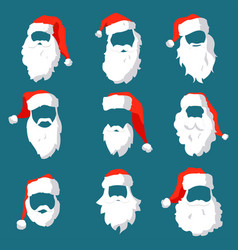 Different santa hats moustache and beards vector