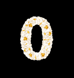 Digit 0 made up airy popcorn vector