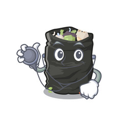 doctor grabage bag isolated with mascot vector image