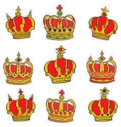 Doodle of red crown style collection vector
