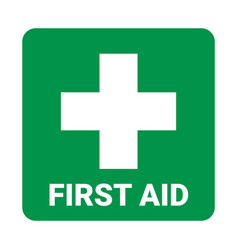 first aid icon symbol green cross safety vector image