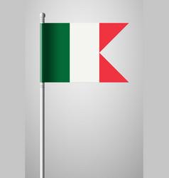 Flag of italy national flag on flagpole isolated vector