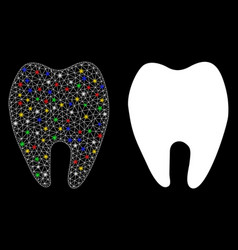 Flare mesh network tooth icon with flare spots vector
