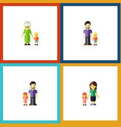flat icon people set of grandma mother father vector image