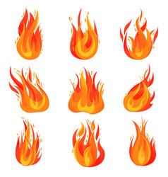 Flat set bright red-orange fires hot vector