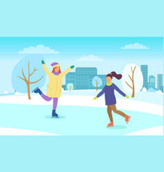 Girls skating on rink active winter holidays vector