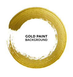gold circle glitter texture paint brush on white vector image
