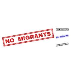 Grunge no migrants scratched rectangle stamp seals vector
