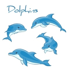 Hand drawn set of cartoon dolphins in vector
