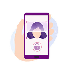 hand holding phone with scanning app on screen vector image