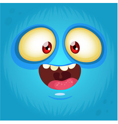 Happy cartoon monster face avatar vector