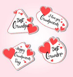 Happy grandparents day greeting card set vector