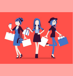 happy women after shopping vector image
