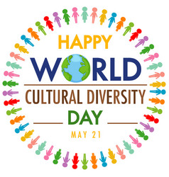 happy world cultural diversity day logo or banner vector image