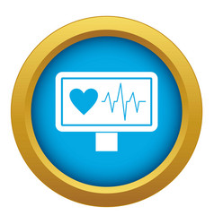heartbeat icon blue isolated vector image
