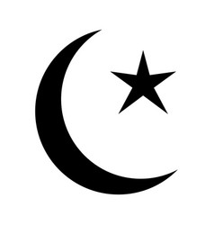 Islam crescent and star black and white pictograph vector