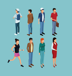 isometric people 3d vector image