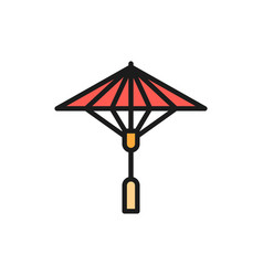 japanese sun umbrella flat color line icon vector image