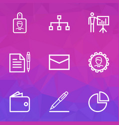 Job outline icons set collection of contract vector