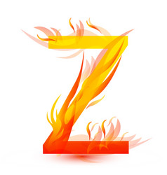 Letter z in fire flame icon vector