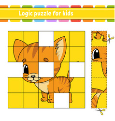 Logic puzzle for kids cat animal education vector