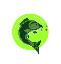 logo carp fishing green round emblem fish icon vector image