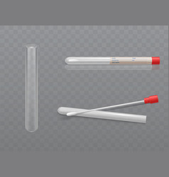 Medical test tube and cotton swab vector