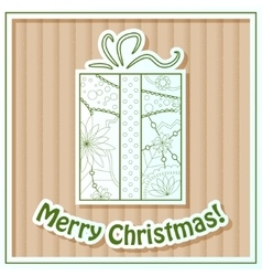 Merry Christmas card on cardboard with gift vector