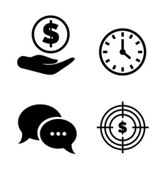 money and time chat and dollar target vector image