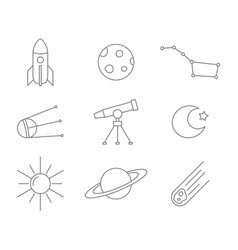 monochrome set with line space icons vector image
