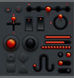 Neumorphic ui ux design elements set dark theme vector