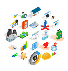 Online shopping icons set isometric style vector