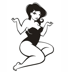 Oversize pinup girl vector