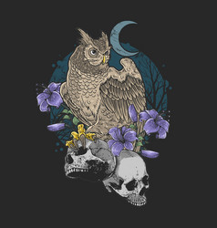 owl bird floral with skull nightmare grunge backgr vector image